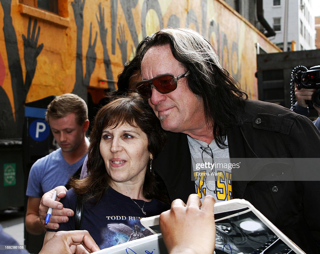 <a gi-track='captionPersonalityLinkClicked' href=/galleries/search?phrase=Todd+Rundgren&family=editorial&specificpeople=669124 ng-click='$event.stopPropagation()'>Todd Rundgren</a> greets fans at the 'Late Show with David Letterman' at Ed Sullivan Theater on May 7, 2013 in New York City.