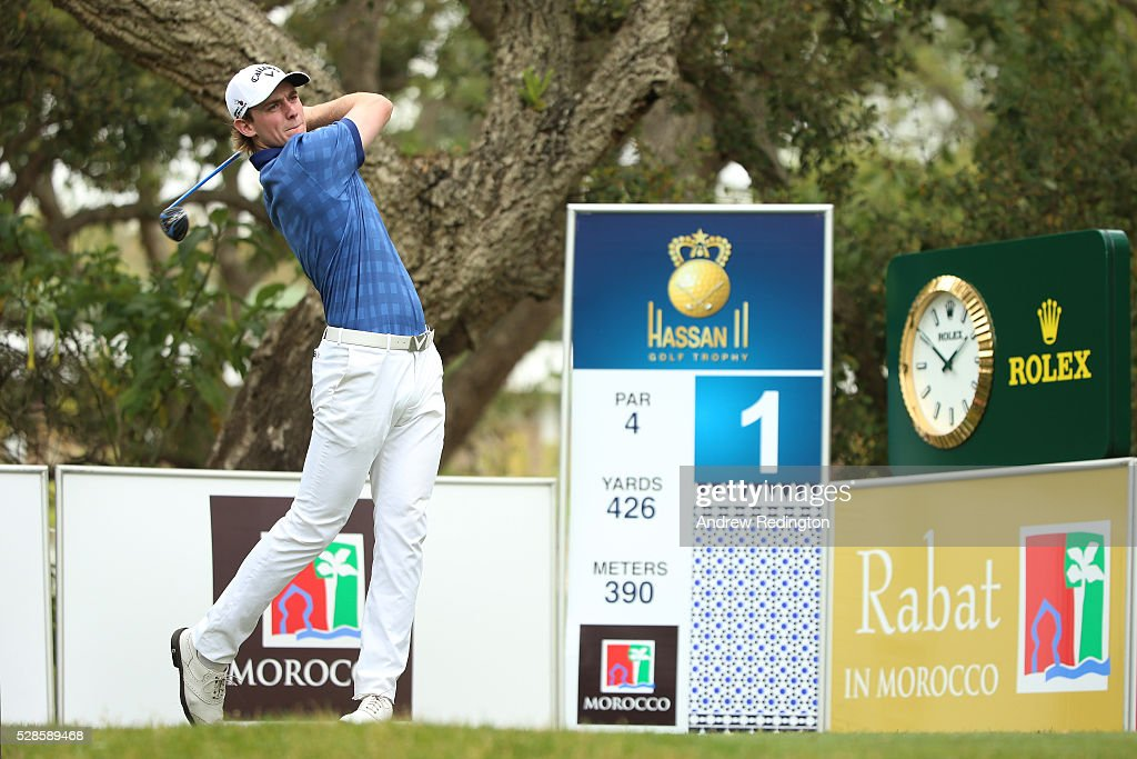 Todd Sinnott of Australia plays his tee shot on the first holeduring the second round of the Trophee Hassan II at Royal Golf Dar Es Salam on May 6, 2016 in Rabat, Morocco.