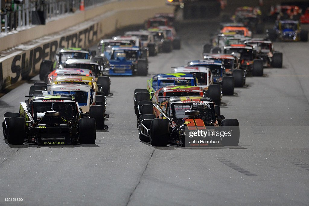 Todd Szegedy, driver of the #2 UNOH/We Are Newton Ford, and Eric Goodale, driver of the #58 RBS Design Showroom Chevrolet, lead the field during the Whelen Modified Series UNOH Battle At The Beach at Daytona International Speedway on February 19, 2013 in Daytona Beach, Florida.
