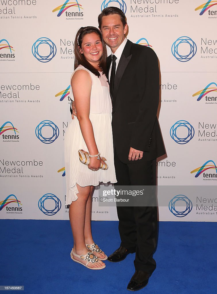 Todd Woodbridge and his daughter Zara Woodbridge arrive ahead of the 2012 John Newcombe Medal at Crown Palladium on December 3, 2012 in Melbourne, Australia.