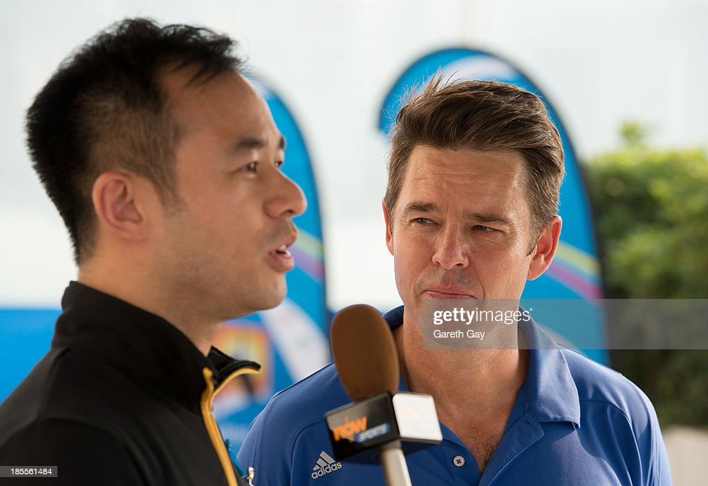 Todd Woodbridge talkes to the press, during the Australian Open Trophy tour on October 22, 2013 in Hong Kong, Hong Kong.