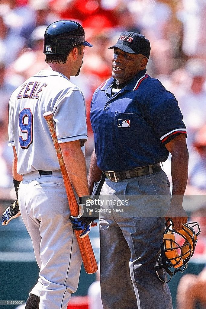 Todd Zeile of the New York Mets argues with home plate umpire Laz Diaz during the game against the St Louis Cardinals on September 2 2000 at Busch...