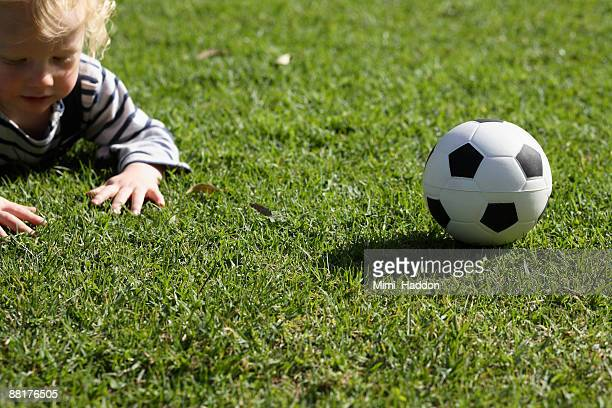 Toddler and soccer ball