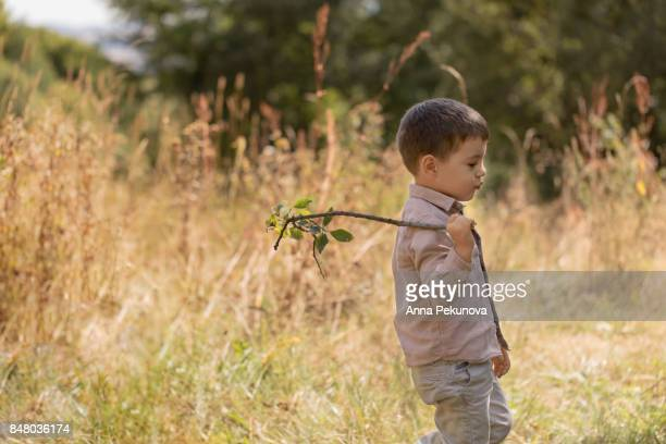 Toddler bow walking with a branch of tree over his shoulder