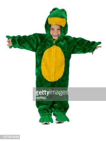 幼児のハロウィーン少年カエルの衣装、腕出力-クリッピングパス