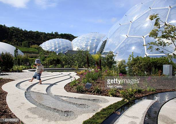 A toddler explores the latest attraction 'The Sense of Memory Garden' at the Eden Project on May 31 2012 in St Austell Cornwall England The garden...