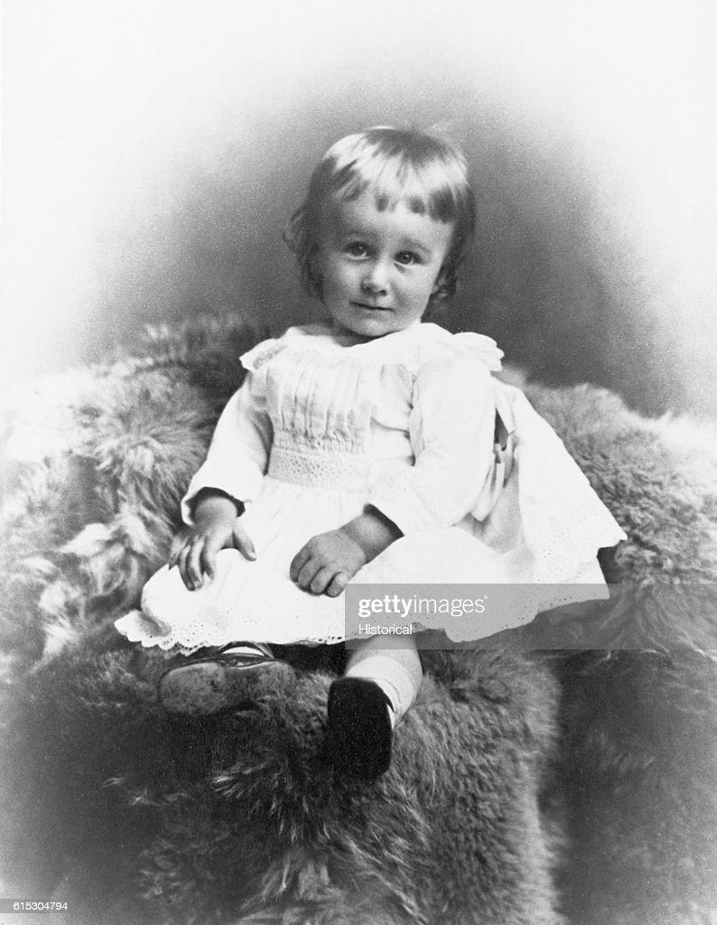 Toddler Franklin D. Roosevelt Sitting on Fur Rug