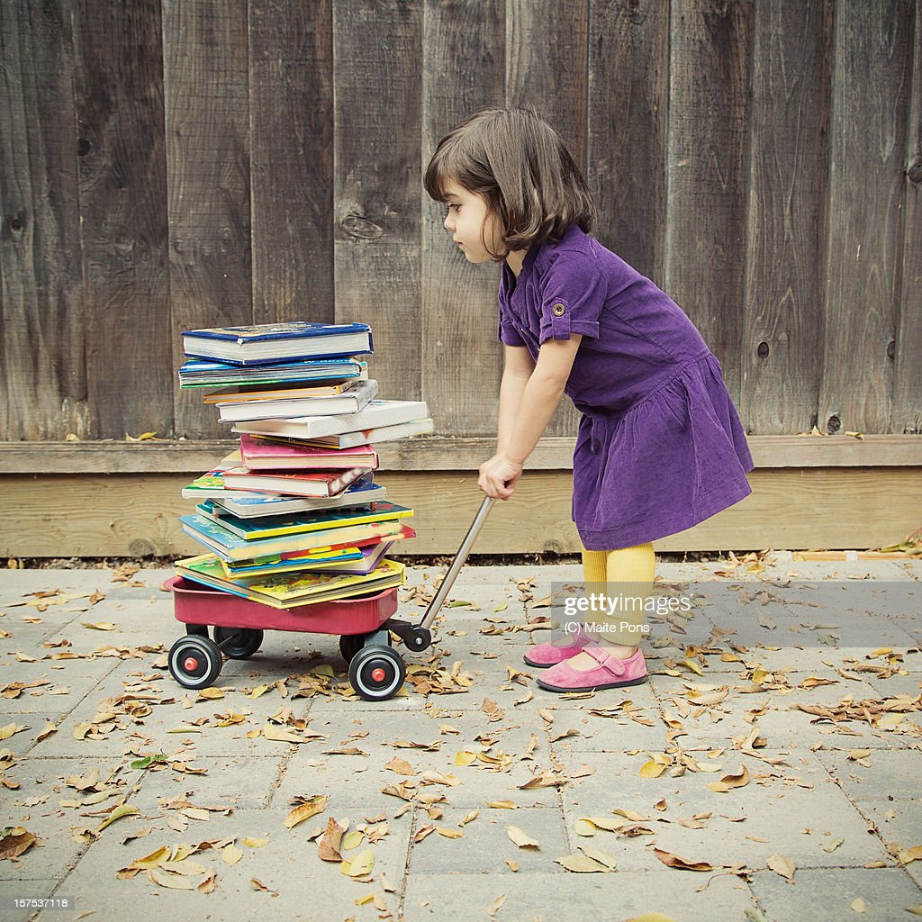 Toddler Girl and Books : Stock Photo