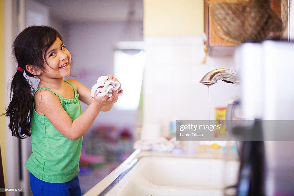 Toddler Girl At Kitchen Sink : Stock Photo