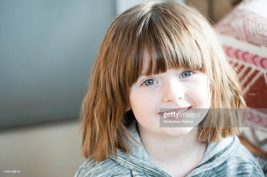 Toddler Girl in Grey Shirt : Stock Photo