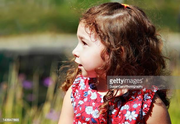 Toddler girl in summer