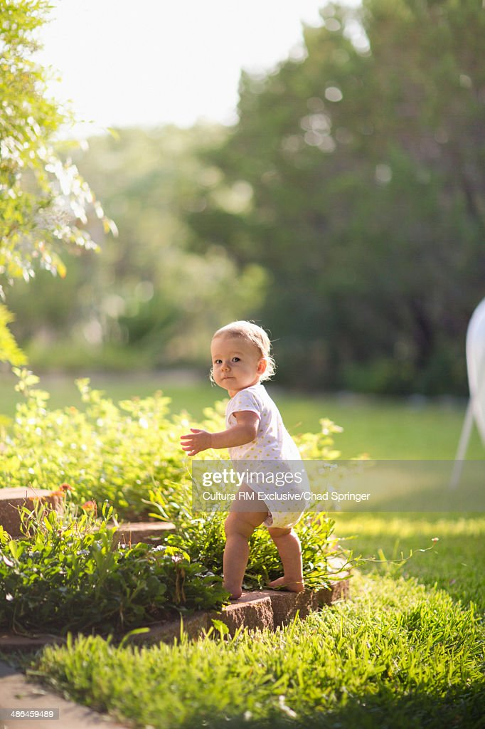 Toddler girl learning to walk in garden : Stock Photo