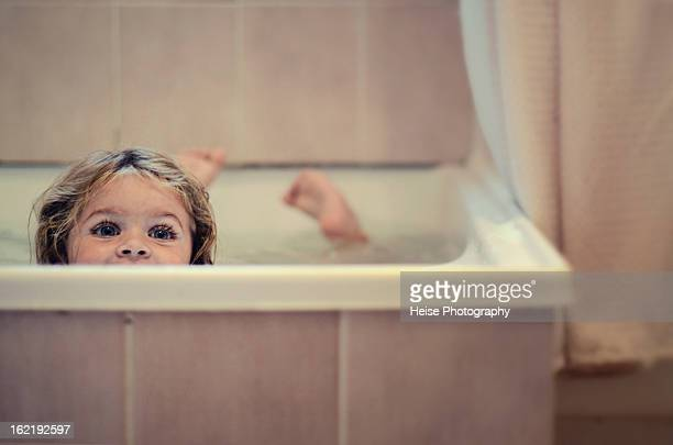 Toddler Girl Swimming in Bath