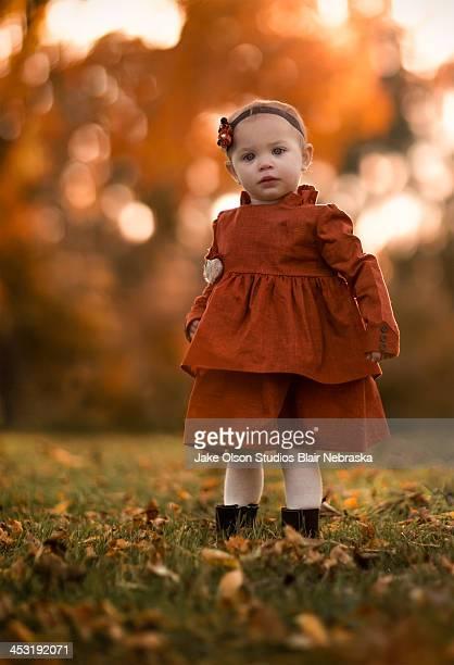 Toddler in Orange Dress