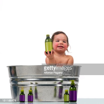 Toddler in tub : Stock Photo