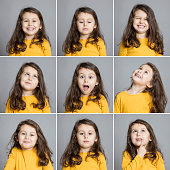 Toddler making different face expressions, Studio shot