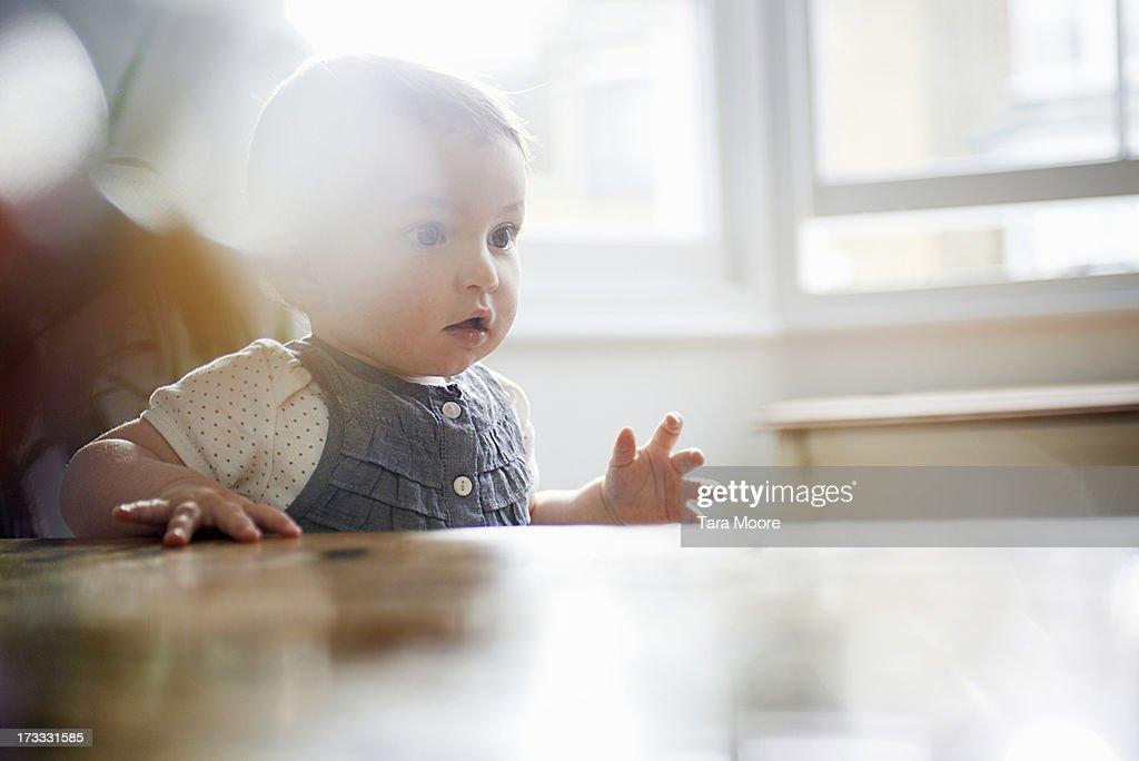 toddler starting to walk : Stock Photo