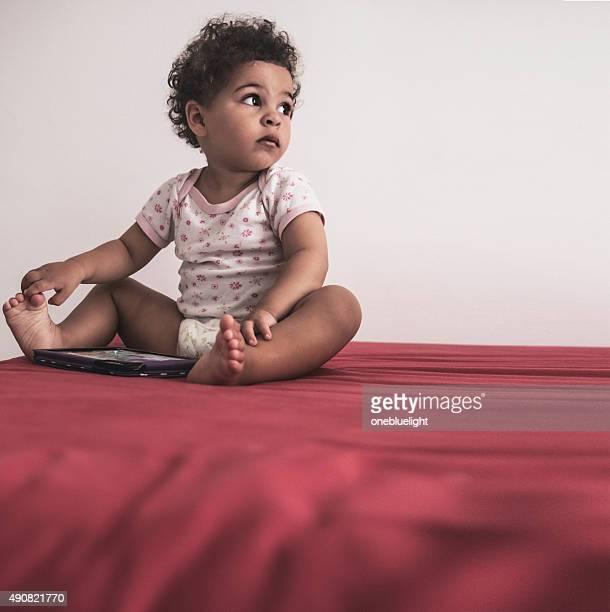 Toddler (2-3) Using Digital Tablet at Home