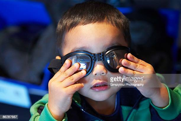 Toddler wearing goggles