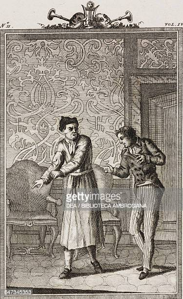 Todero and the servant Gregory engraving by Marco Zuliani from Grumpy Mr Todero Act I Scene 5 Comedies Volume 4 by Carlo Goldoni