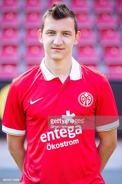 Todor Nedelev poses during the 1 FSV Mainz Team Presentation at Coface Arena on July 18 2014 in Mainz Germany