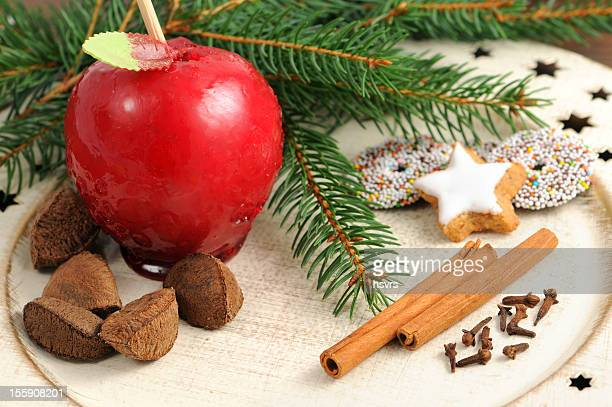 toffee apple Christmas decoration plate cookies brazil nutes fir tree