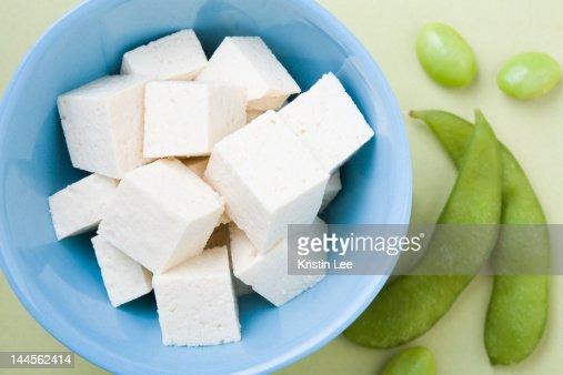 Tofu and edamame, studio shot