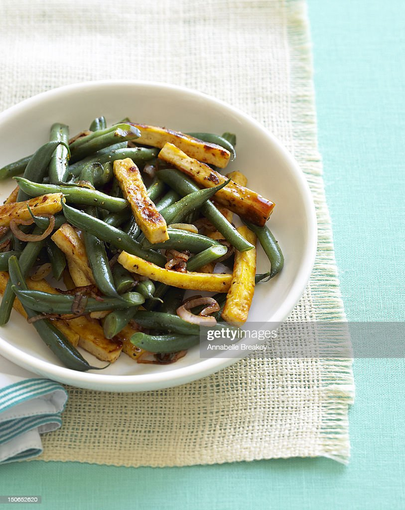 Tofu and Green Beans : Stock Photo