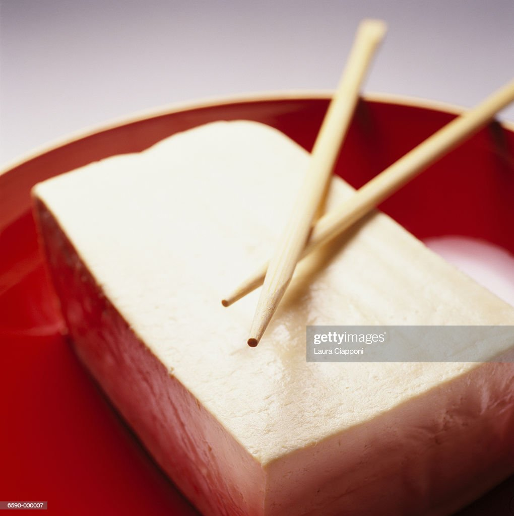 Tofu in Red Bowl : Stock Photo