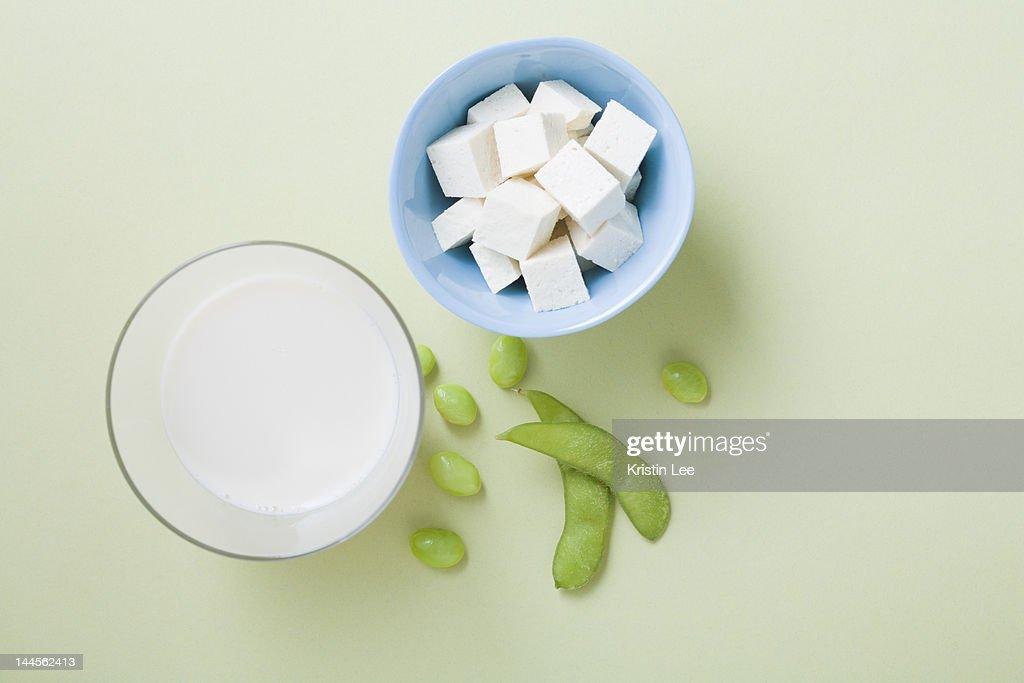 Tofu, soy milk and edamame, studio shot