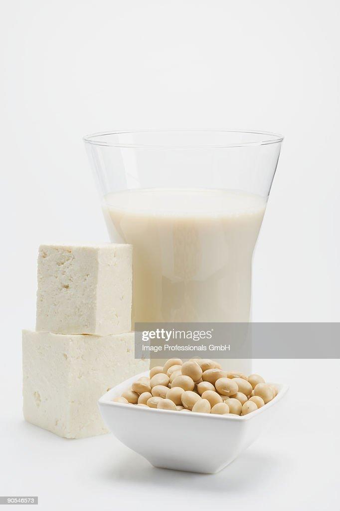 Tofu, soya milk and soya beans on white background, close up