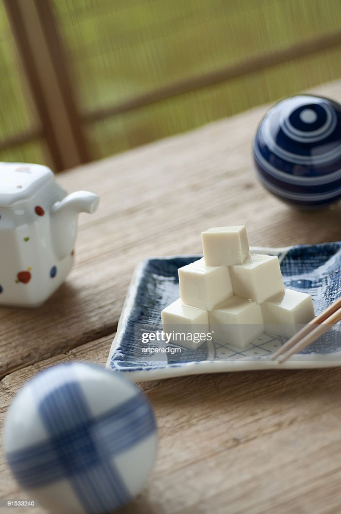 Tofu with a soy sauce cruet : Stock Photo