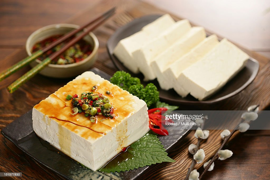 Tofu with soybean sauce : Stock Photo