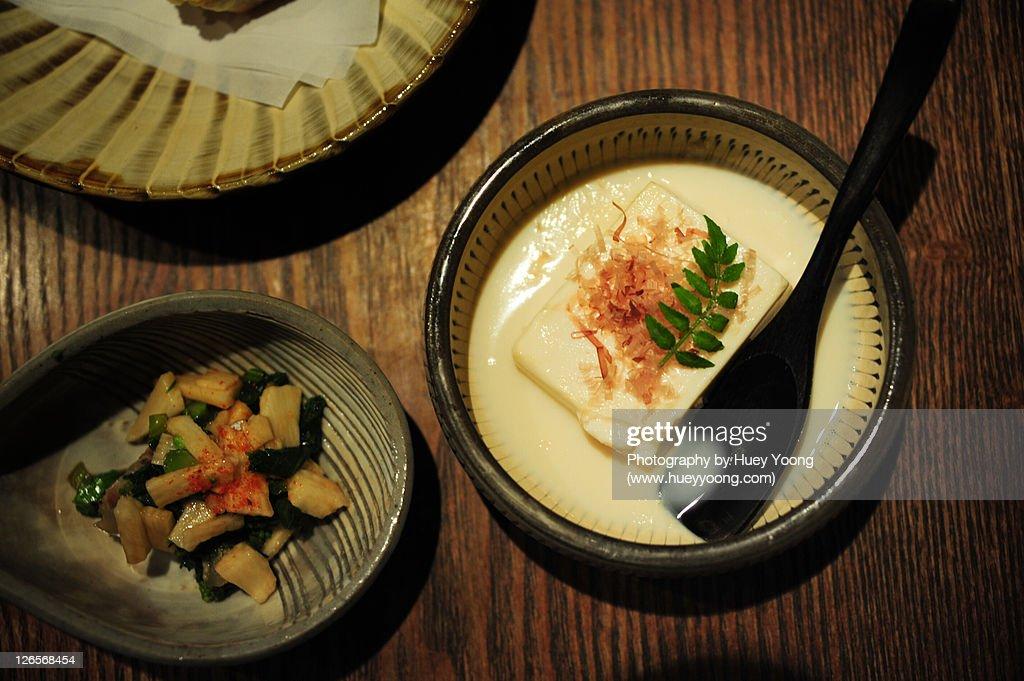Tofu with soymilk : Stock Photo