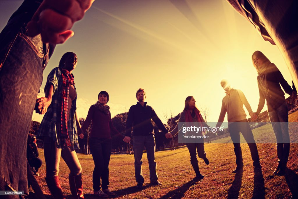 Together for a common idea - enjoy outdoors : Stock Photo