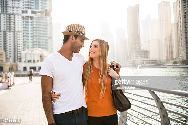 togetherness couple walking in Dubai Marina - UAE