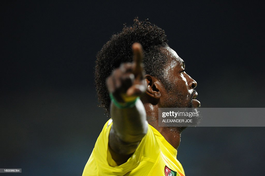 Togo Forward Emmanuel Adebayor celebrates after scoring a goal during a 2013 African Cup of Nations in Rustenburg on January 26, 2013 at Royal Bafokeng Stadium in a Group D match.