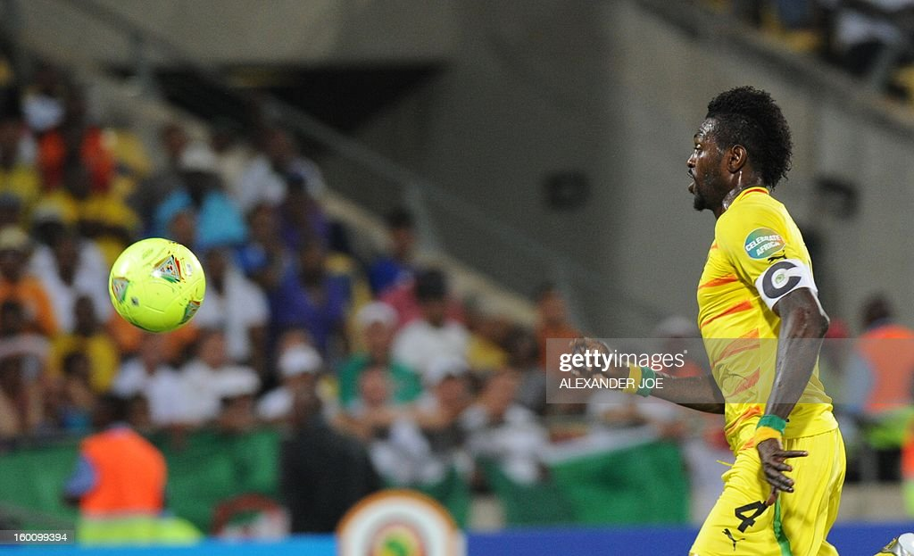 Togo Forward Emmanuel Adebayor looks at the ball during the Africa Cup of Nations during a 2013 African Cup of Nations in Rustenburg on January 26, 2013 at Royal Bafokeng Stadium in a Group D match.