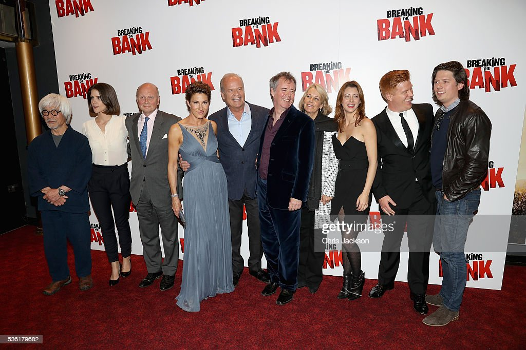 Togo Igawa, Sonya Cassidy, actress <a gi-track='captionPersonalityLinkClicked' href=/galleries/search?phrase=Tamsin+Greig&family=editorial&specificpeople=814015 ng-click='$event.stopPropagation()'>Tamsin Greig</a>, actor <a gi-track='captionPersonalityLinkClicked' href=/galleries/search?phrase=Kelsey+Grammer&family=editorial&specificpeople=210500 ng-click='$event.stopPropagation()'>Kelsey Grammer</a>, director Vadim Jean, guest, Julie Dray and Daniel Morgan pose as they attend the UK Gala Screening of 'Breaking the Bank' at Empire Leicester Square on May 31, 2016 in London, England.