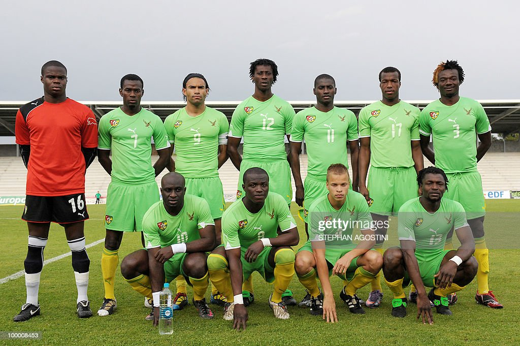 PERAUT - Togolese football national team players pose prior to a friendly match against Gabon as part of the 'Corsica football Cup' on May 19, 2010 at the François Coty Stadium in Ajaccio. Upper row, from left : Cedric Mensah, Malick Korodowou, Thomas Dossevi, Baba Tchagouni, Moukaila Goga, Camaldine Abraw, and Kacla Eninful. Down, from