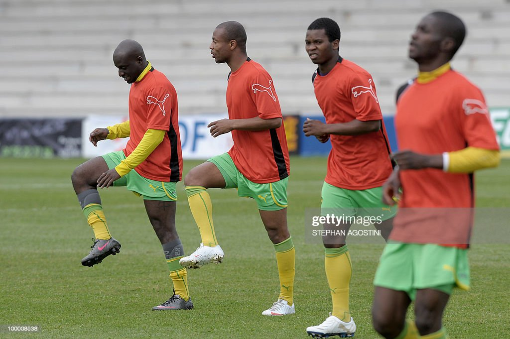 PERAUT - Togolese football national team players warm up prior to a friendly match against Gabon as part of the 'Corsica football Cup' on May 19, 2010 at the François Coty Stadium in Ajaccio.