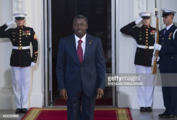 Togolese President Faure Gnassingbe arrives at the White House for a group dinner during the US Africa Leaders Summit August 5 2014 in Washington DC...