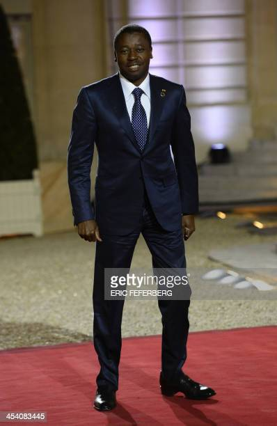 Togolese President Faure Gnassingbe arrives for a dinner with the French President and other dignitaries as part of the Summit for Peace and Security...