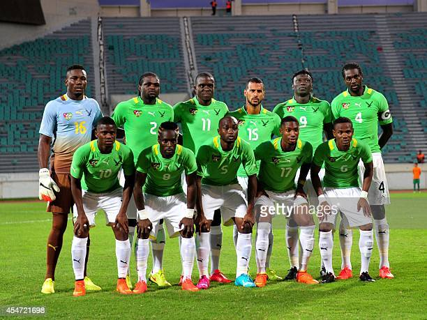Togo's football team poses before its 2015 African Cup of Nations qualifying football match against Guinea on September 5 2014 in the Moroccan city...