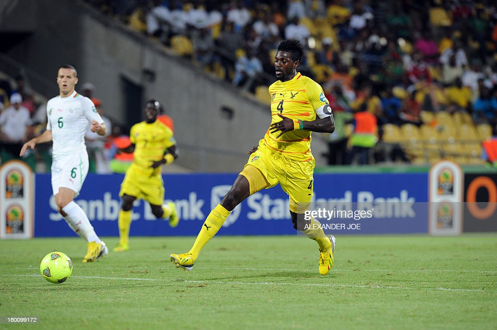Togo's forward Emmanuel Adebayor shoots during the 2013 African Cup of Nations football match Algeria vs Togo at Royal Bafokeng stadium in Rustenburg on January 26, 2013.