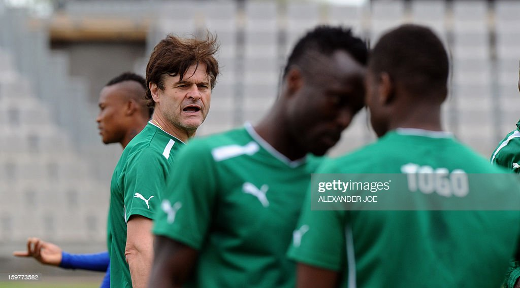 Togo's French Coach Didier Six (2ndL) looks on during a training session in Moruleng on January 20, 2013 at Moruleng Stadium. Togo will play their first Group D 2013 Africa Cup of Nations match against Ivory Coast on January 21, 2013.