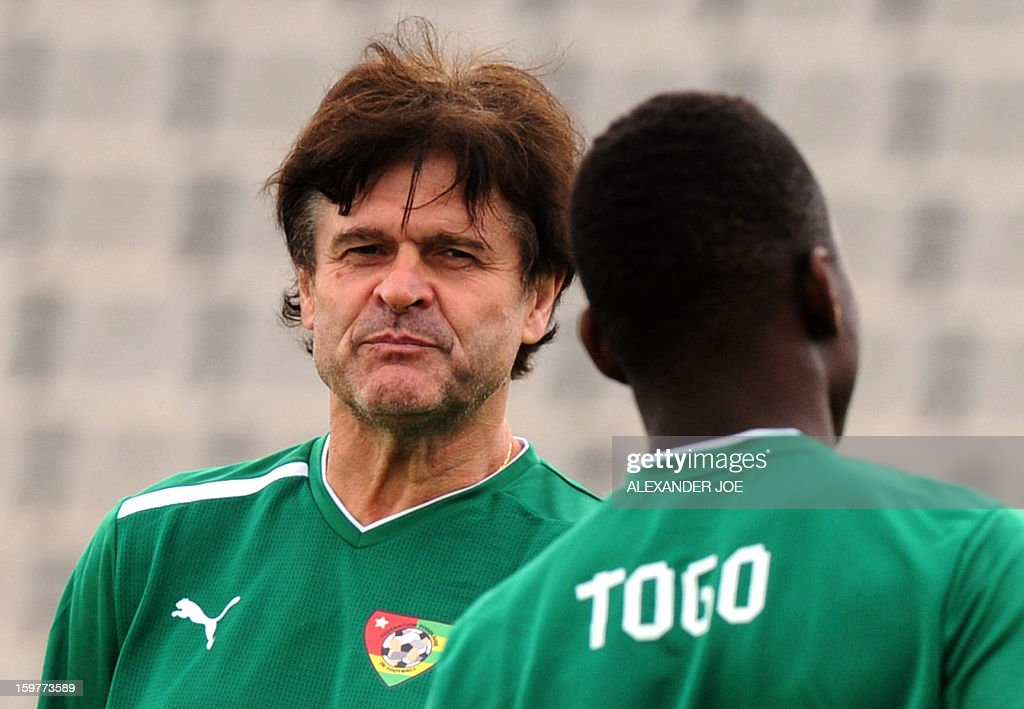 Togo's French Coach Didier Six looks on during a training session in Moruleng on January 20, 2013 at Moruleng Stadium. Togo will play their first Group D 2013 Africa Cup of Nations match against Ivory Coast on January 21, 2013.