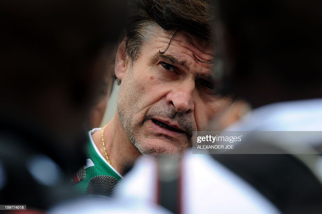 Togo's French Coach Didier Six talks to the media after a training session on January 20, 2013 at Moruleng Stadium in Moruleng, on the eve of a Group D 2013 Africa Cup of Nations match against Ivory Coast.