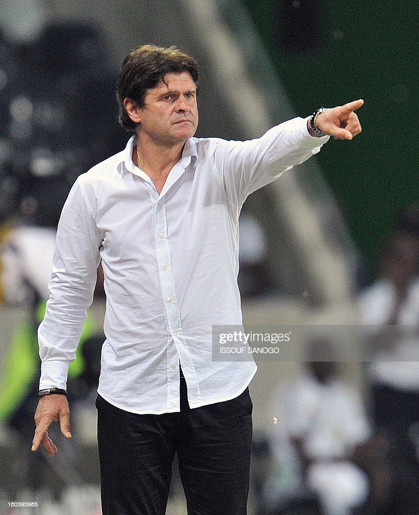 Togo's French head coach Didier Six gestures during the Africa Cup of Nations 2013 group D football match Togo vs Tunisia on January 30, 2013 at the Mbombela stadium in Nelspruit. Togo drew 1-1 with Tunisia today to complete the Africa Cup of Nations quarter-final cast list and send the Carthage Eagles heading back to Tunis. AFP PHOTO / ISSOUF SANOGO
