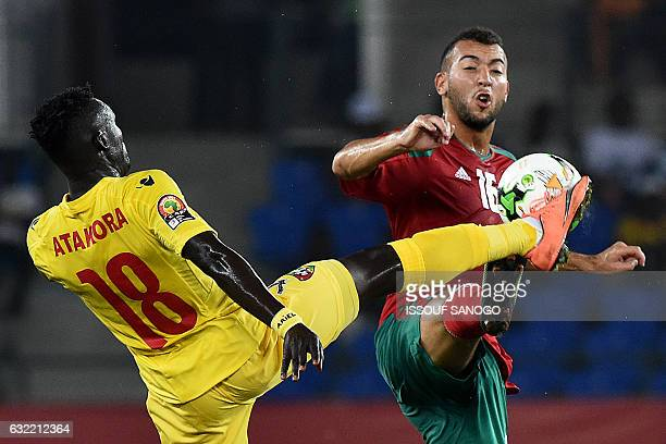 Togo's midfielder Lalawele Atakora challenges Morocco's forward Omar El Kaddouri during the 2017 Africa Cup of Nations group C football match between...